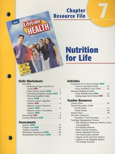 Holt Lifetime Health Chapter 7 Resource File: