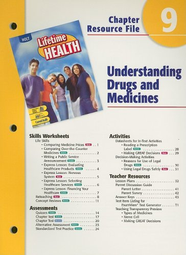 9780030652028: Holt Lifetime Health Chapter 9 Resource File: Understanding Drugs and Medicines