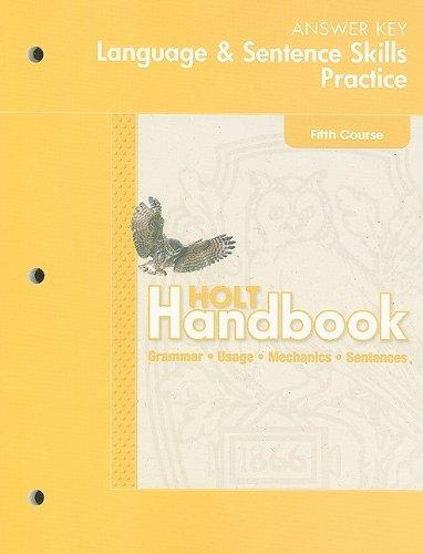 9780030653124: Hold Handbook Language & Sentence Skills Practice Answer Key: Fifth Course: Grammar, Usage, Mechanics, Sentences