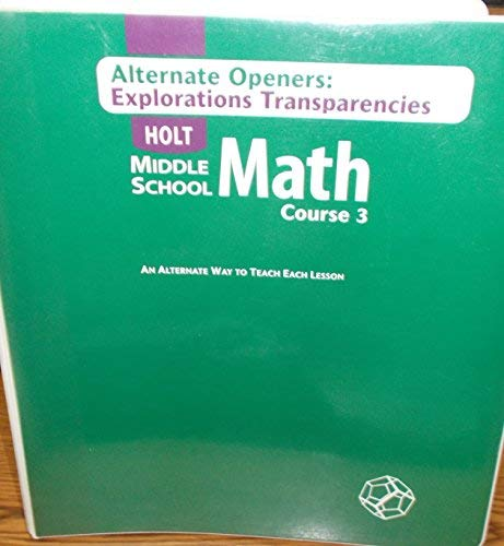 9780030662188: Math Course 3 : Middle School: Alternate Openers Overhead Transparencies