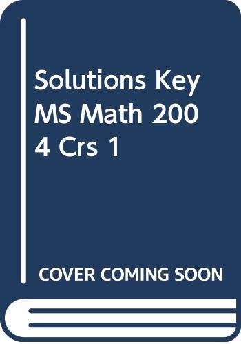 9780030662430: Solutions Key MS Math 2004 Crs 1