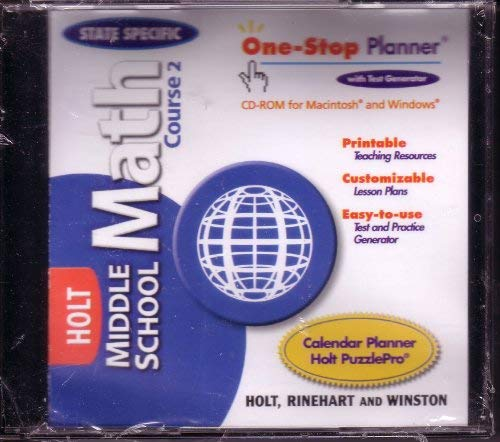 9780030662911: One-Stop Planner CD-ROM (Holt Middle School Math Course 2)