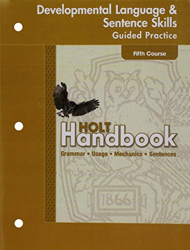 9780030663918: Holt Handbook: Developmental Language and Sentence Skills Guided Practice Fifth Course