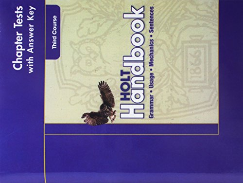 9780030664069: Chapter Tests with Answer key. Holt Handbook, Third Course