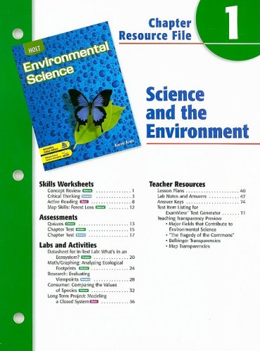 Holt Environmental Science Chapter 1 Resource File: Science and the Environment: Arms, Karen