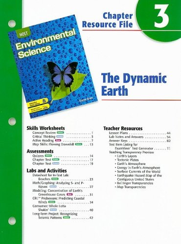 9780030666018: Holt Environmental Science Chapter 3 Resource File: The Dynamic Earth