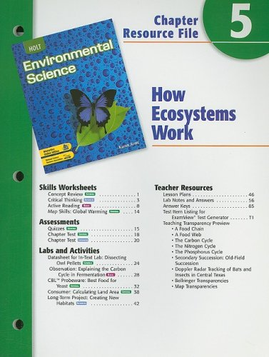 9780030666049: Holt Environmental Science Chapter 5 Resource File: How Ecosystems Work
