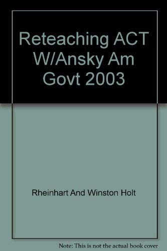 9780030666421: Holt American Government-Reteaching Activities With Answer Key