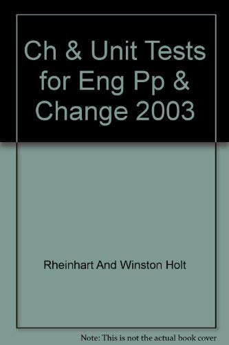9780030667091: Holt People, Places, and Change: An Introduction to World Studies- Chapter and Unit Tests for English Language Learners and Special-Needs Students with Answer Key