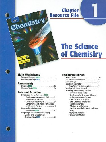 9780030667442: Holt Chemistry Chapter 1 Resource File: The Science of Chemistry