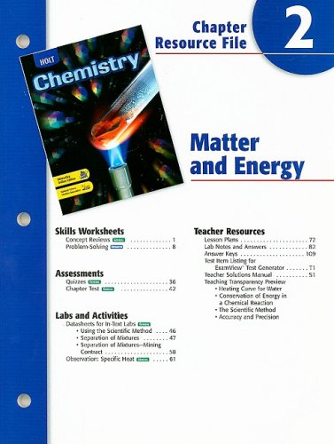 9780030667466: Holt Chemistry Chapter 2 Resource File: Matter and Energy