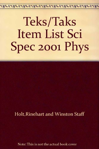 9780030667510: Teks/Taks Item List Sci Spec 2001 Phys