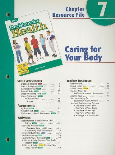 9780030668425: Holt Decisions for Health Chapter 7 Resource File: Caring for Your Body