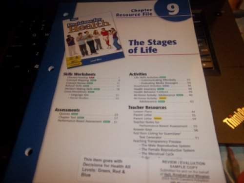 9780030668531: Decisions for Health: Chapter Resource File Level Blue Chapter 9 The Stages of Life