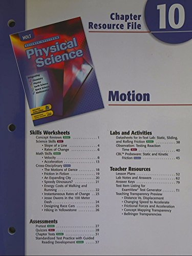 9780030670589: Science Spectrum, Physical Science. Chapter 10 Resource File. Motion.