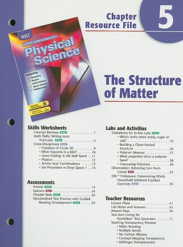 9780030675980: Holt Science Spectrum Physical Science Chapter 5 Resource File: The Structure of Matter