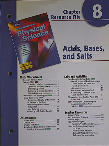 9780030676017: Science Spectrum, Physical Science. Chapter 8 Resource File. Acids, Bases, and Salts.