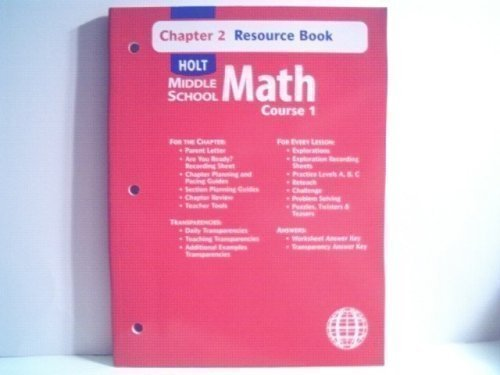 9780030679223: Holt Middle School Math (Chapter 2 Resource Book Course 1)