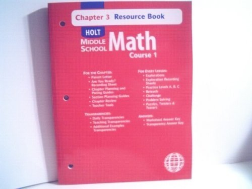 9780030679230: Holt Mathematics: Resource Book Chapter 3 Course 1