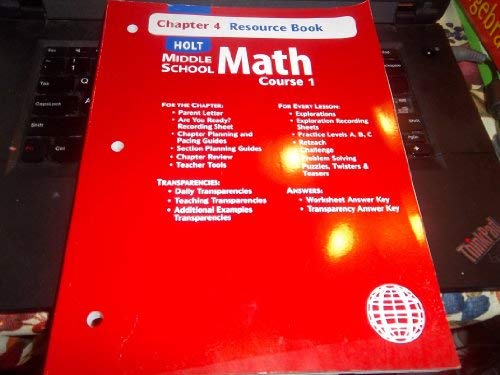 9780030679247: Holt Mathematics: Resource Book Chapter 4 Course 1