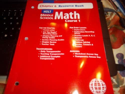 9780030679278: Holt Middle School Math: Course 1 - Chapter 6 Resource Book