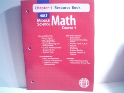 9780030679292: Holt Middle School Math: Course 1, Chapter 8, Resource Book