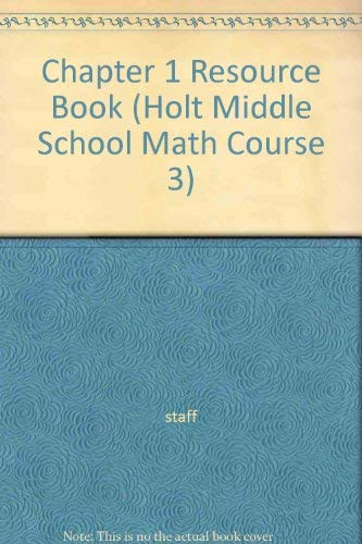 9780030679582: Chapter 1 Resource Book (Holt Middle School Math Course 3)