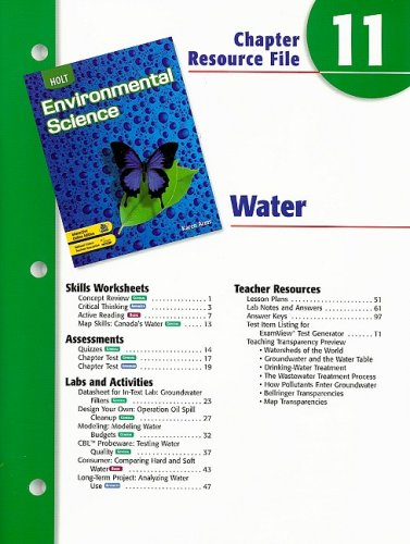 9780030680717: Holt Environmental Science Chapter 11 Resource File: Water