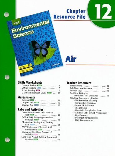9780030680724: Holt Environmental Science Chapter 12 Resource File: Air