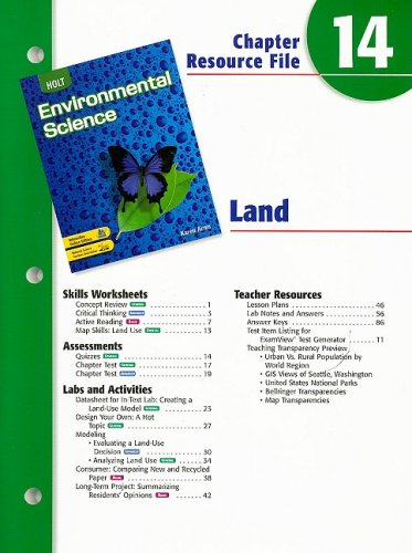9780030680748: Holt Environmental Science Chapter 14 Resource File: Land