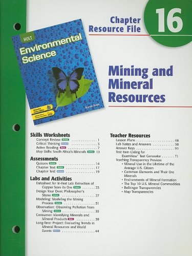 9780030680779: Holt Environmental Science Chapter 16 Resource File: Mining and Mineral Resources