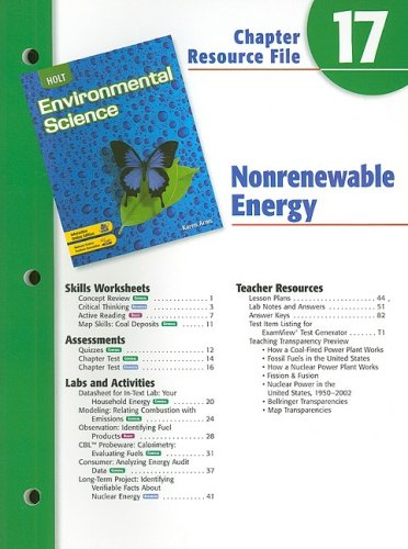 9780030680786: Holt Environmental Science Chapter 17 Resource File: Nonrenewable Energy