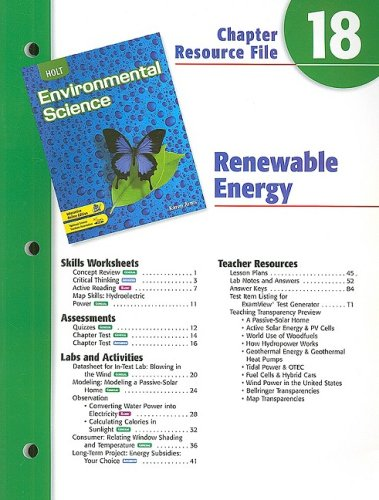 9780030680793: Holt Environmental Science Chapter 18 Resource File: Renewable Energy