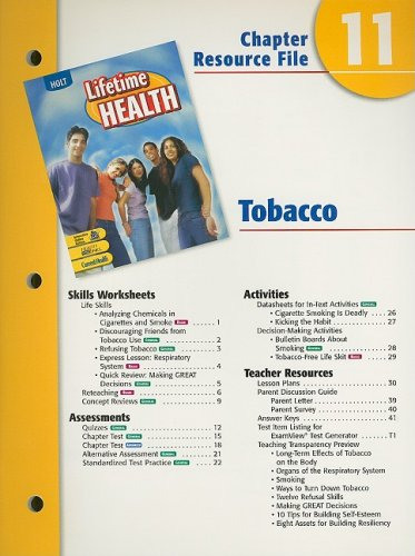 9780030681035: Holt Lifetime Health Chapter 11 Resource File: Tobaccco