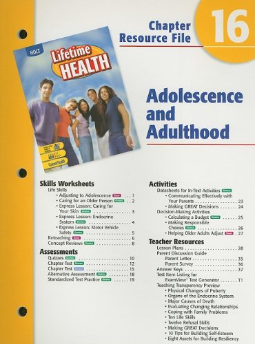 9780030681097: Holt Lifetime Health Chapter 16 Resource File: Adolescence and Adulthood