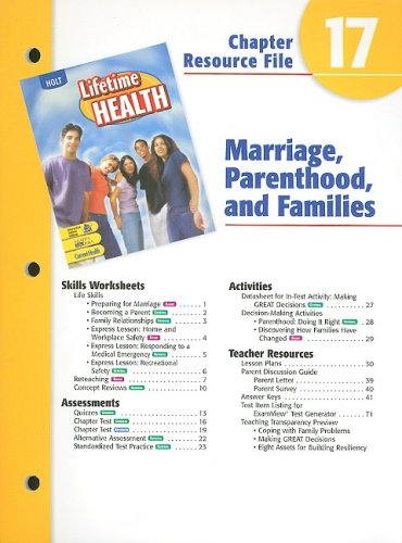 A Lifetime of Health Chptr. 17 : Marriage and Parenthood [Paperback] by: Rinehart and Winston Staff...