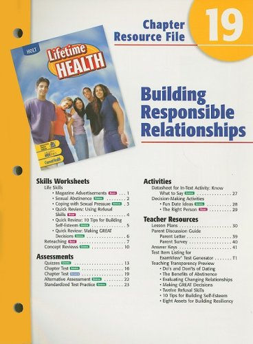9780030681134: Holt Lifetime Health Chapter 19 Resource File: Building Responsible Relationships