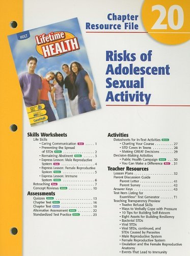 9780030681141: Holt Lifetime Health Chapter 20 Resource File: Risks of Adolescent Sexual Activity
