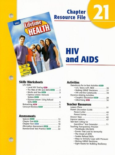 9780030681165: Holt Lifetime Health Chapter Resource File 21: HIV and AIDS