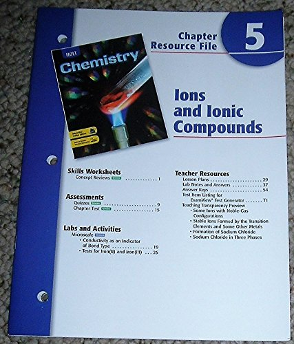 9780030681271: Holt Chemistry, Chapter 5: Ions/Ionic Compounds