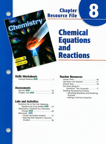 9780030681325: Holt Chemistry Chapter 8 Resource File: Chemical Equations and Reactions