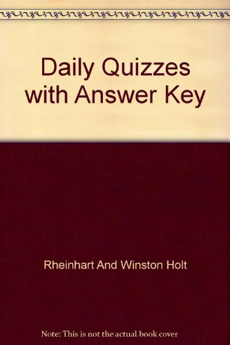 Daily Quizzes with Answer Key: People, Places, and Change (An Introduction to World Studies): Holt ...