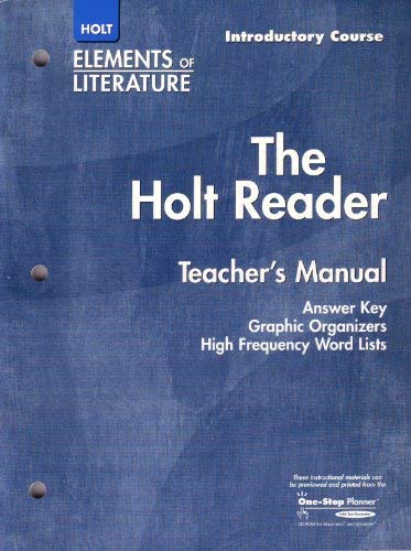 9780030683985: The Holt Reader Teacher's Manual (Elements of Literature)
