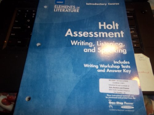 9780030685088: Elements of Literature Holt Assessment Writing, Listening, and Speaking Grade 6 Introductory Course