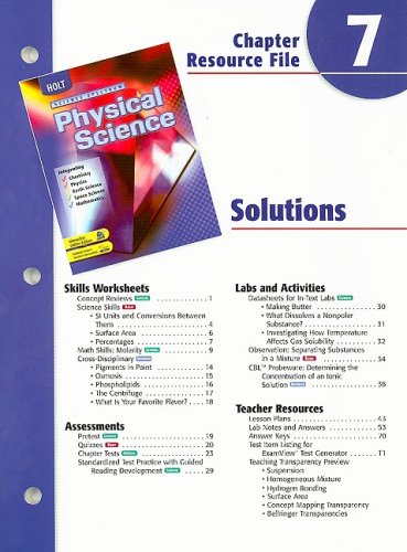 9780030685842: Holt Science Spectrum Physical Science Chapter 7 Resource File: Solutions