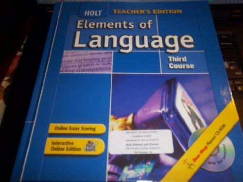 9780030686870: Elements of Language, 3rd Course, Teacher's Edition