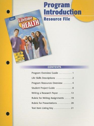 Holt Lifetime Health Program Introduction Resource File: Holt Rinehart &
