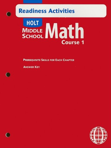 9780030692345: Holt Middle School Math: Readiness Activity with Answer Key Course 1