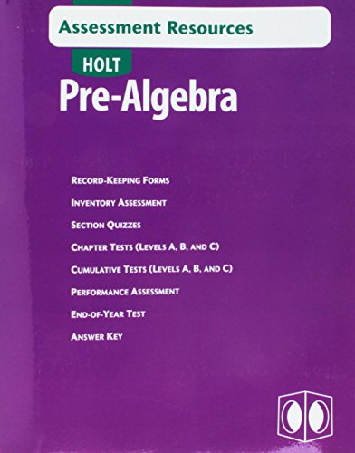 9780030696138: Assessment Resources Pre-Alg 2004