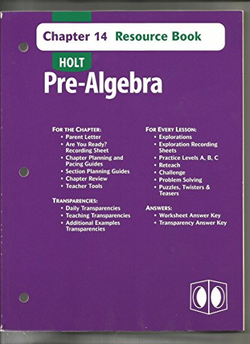 9780030696961 Holt Pre Algebra Resource Book Chapter 14 With Answer Key Abebooks Holt Rinehart And Winston 0030696968